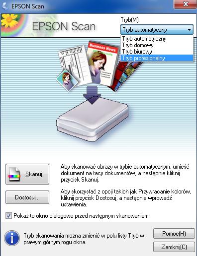 Widok menu EPSON Scan